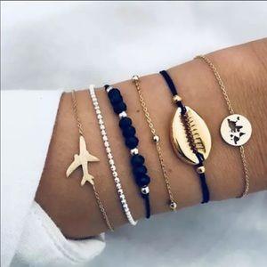 5PC BOHO airplane ✈️ world 🌎 shell 🐚 bracelets
